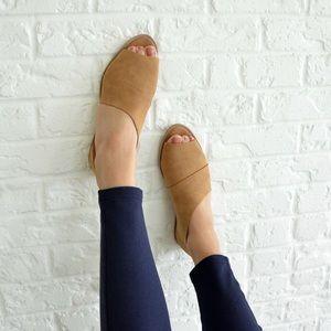 Shoes - 🆕 Cognac Distressed Peeptoe D'orsay Flats